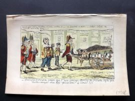 Cruikshank C1860 HCol Satire Print. Anticipation of the Golden Age